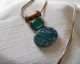 Vintage Teal Drusy Sterling Silver Necklace