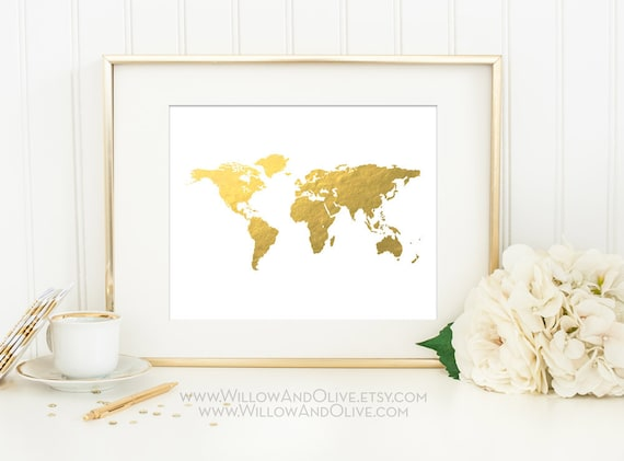 World map faux gold foil art print gold world map gold map like this item sciox Gallery