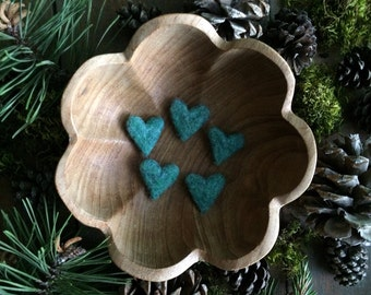 Felted wool hearts, set of 5, Aqua Heather, miniature felt hearts, friend valentines day gift under 20, teal wool heart, affordable gifts