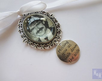 Oval Wedding Bouquet  Photo Memory Charm with 'Missing you as I walk down the aisle'