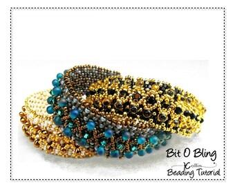 Peyote Stitch Bracelet Seed Bead Jewelry Tutoria Layered Embellished Braceletl Beading Pattern Beading Instructions Beaded Cuff BIT O BLING