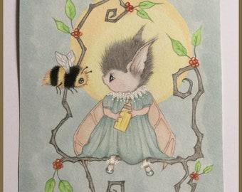 Original art Tuppence the baby bat lowbrow fantasy art