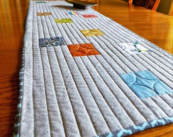 Modern Table Runner, Quilted Cotton Table Runner, Gray, Aqua, Orange, Green Tiled Minimalist, Mid-Century Style Table Runner