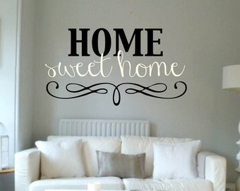 Vinyl Wall Word Decal - Home Sweet Home - Home Decor - Wall Word
