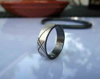 SALE Size 6-3/4 Mens Wedding Ring Silver Mens Wedding Band Unique Mens Wedding Band Mens Wedding Bands Mens Wedding Rings Viking Wedding Rin
