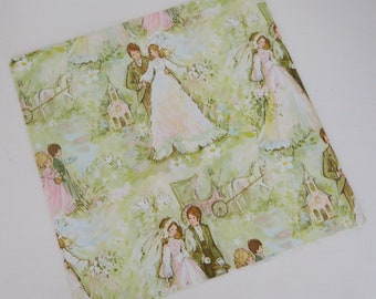 Vintage American Greetings WEDDING Gift Wrap - Wrapping Paper - BOHO Bride and Groom - with Coordinating Gift Card - 1970s