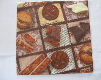 set of 2 chocolate paper napkins
