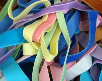 Grab Bag of Velvet Ribbon- various lengths-Pink,Green, Blue, Brown, Purple Velvet Ribbon