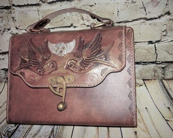 Leather handbag, steampunk inspired, hand tooled, custom made, handmade - Ready to Ship