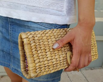 Gift For Mom/Handmade/Clutch Bag/Clutch Purse/Eco-friendly Handbag/Clutch wallet/ Purse Clutch/Clutch Purse With Bamboo Button/Natural Color
