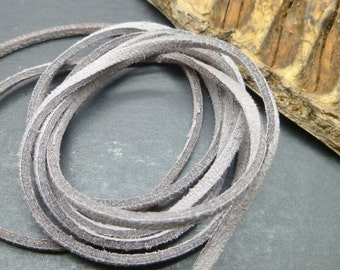 Gray Suede Cord - 15 feet / 5yds - Microfiber Faux Flat Suede Cord - 3mm x 1.5mm- Jewelry Making Cord - W0203