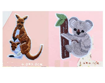 Wholesale bulk lot 40pcs   cartoon kangaroo and koala   embroidered  iron on sewing on  patch
