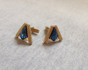 Vintage Goldtone with Blue Irridescent Design Cuff Links