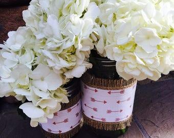 Mason Jar Wrap, Arrows, Tribal, Boho Chic, Mason Jar Decoration, Baby Shower, Party, Wedding Decoration
