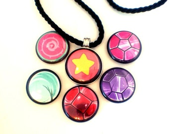 Universe Necklace | Magnetic Necklace | Six Necklaces In One | Garnet, Amethyst, Pearl, Steven, Rose Quartz & Rose's Shield