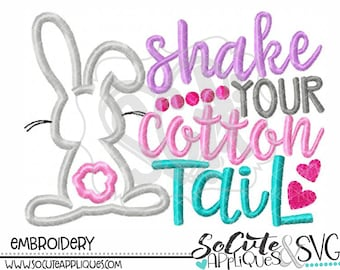 Shake your Cotton tail Easter Embroidery design, Embroidery sayings, socuteappliques, Easter bunny applique, girls Easter applique