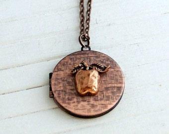 Apple Locket  .. copper locket, small locket, vintage locket, teacher gift