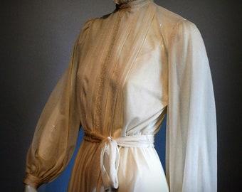 FINAL SALE --- Vintage 1970s Ivory Chiffon Full Sleeve Poet Dress