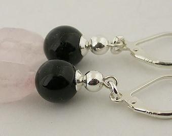 Rose Quartz Black Onyx Sterling Silver Lever Back Earrings
