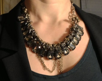 Gorgeous glam beaded chain stone necklace