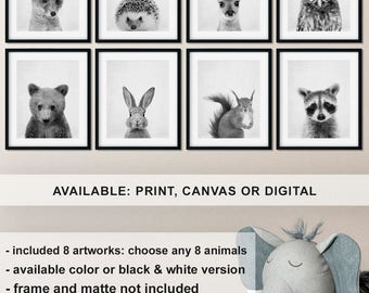 Black and white woodland animals, Forest friends, Woodland Baby Animal Prints, Woodland baby animal shower, Forest animals, Baby Best Seller