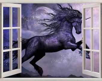 Fantasy Unicorn 3D Window Wall Sticker Art Decal Mural