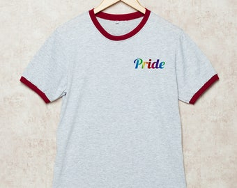 Gay Pride Shirt Pride T Shirts Gay Rainbow T-Shirt Pocket Ringer LGBT Pride flag Grey Size S , M , L , XL , 2XL , 3XL three color ring