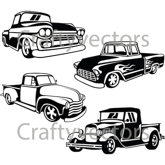hot rod trucks svg vector files