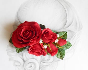 Red roses floral hair piece Red wedding headpiece Valentine flower hair clip Bridal hair comb Woman barrette Bridal hair piece Red gift wife