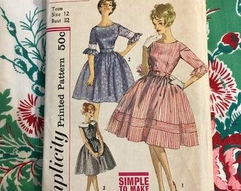 Vintage Simplicity 1950s Dress Pattern Size 12 Bust 32 Complete