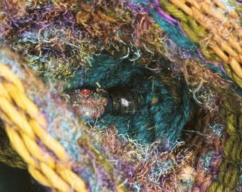 Fiber Art, Woven Sculpture, Art Basket, Wicker Woven, Textural Blue Aqua Brown, Tidalpool. Free Shipping