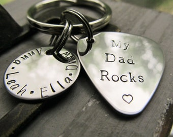 Personalized Guitar Pick Key Ring Gift for Dad Dad Guitar Pick Hand Stamped Guitar Pick Childrens Name Keychain Fathers Day Valentines Gift