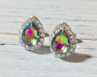 Teardrop Rhinestone Studs, Peacock Rhinestone Studs, Rainbow Vitriol Rhinestone Studs, Fancy Colorful Bling Earrings, Green Pink Blue