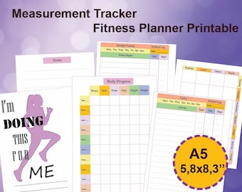 Measurement Tracker A5, Fitness Tracker A5 Printable, Body Progress Tracker A5, Fitness Planner 5.8 x8.3. Instant Download