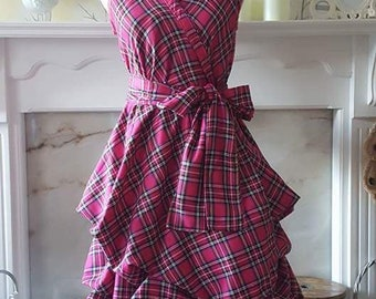 Handmade punk pink tartan dress, wrapped and ruched