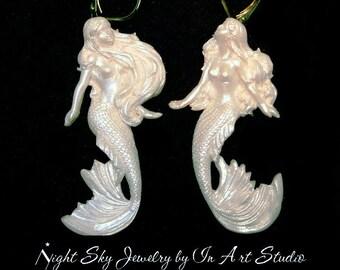 Mermaid Earrings White Pearl Mermaid Jewelry Wedding Jewelry Mermaid jewellery