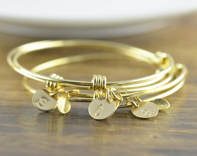 Gold Initial Bracelet - Personalized Initial Bracelet - Personalized Hand Stamped Bracelet - Bridesmaid Gift - Bridesmaid Jewelry