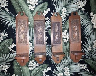 Vintage Hand Carved Wooden Candle Sconces