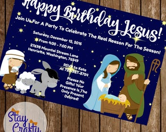 Happy Birthday Jesus Christmas Party Invitation 4x6