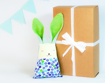 Spring bunny toy, Easter rabbit, bunny  new baby gift, baby girl shower, stuffed animal toys, soft toys, blue green toys, Easter basket