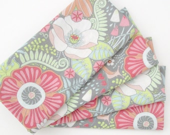 Cloth Napkins - Set of 4 - Pink Orange White Gray Flowers  - Wedding, Dinner, Table, Everyday