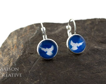 Silver Earrings Blue Peace Peace pigeon