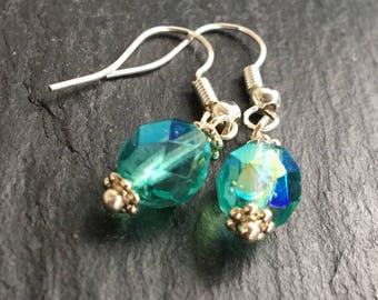 Turquoise sparkle sterling silver drop earrings. Aqua blue dangle earrings. Simple charm earrings. Gift for her.