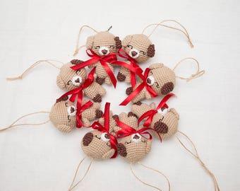 Beige crochet  Dog,Tiny baby toy ,  stuffed plush animal dog , handmade soft amigurumi dog