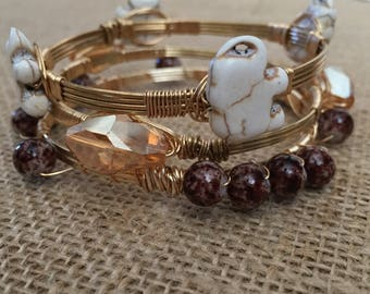 Wire wrapped bangles, Brown bracelet set, Elephant bracelet, set of 3 wire wrapped bracelets