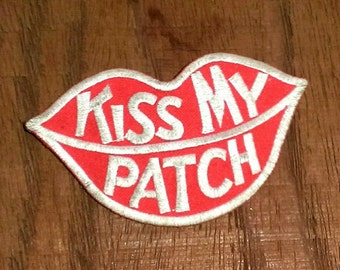 Vintage 1970's  ''Kiss My Patch'' Embroidered Iron-On Biker Patch 4'' X 2 1/2''