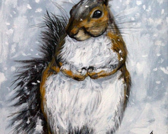 """Winter Squirrel original, acrylic painting on 11"""" x 14"""" stretched canvas, winter scene art, gray squirrel, woodland animalst, snow painting"""