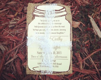 Mason Jar Wedding Invitation, burlap wedding invitation, lace wedding invitation
