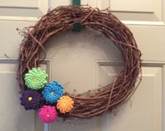 Small Rustic Pinecone Flower Wreath
