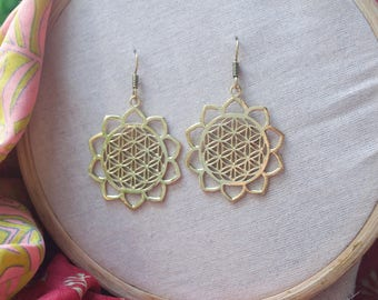 Sacred Geometry Earrings. Mandala Earrings. Spiritual Jewelry. Large Hoop Earrings.